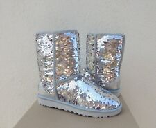UGG CLASSIC SHORT SILVER/ PINK SPARKLE SEQUIN SHEEPWOOL BOOTS, US 7/ EUR 38 ~NEW