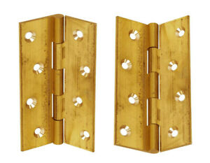 """2 x 100mm Butt Hinge Electro Brassed 4"""" Pair Of Hinges"""