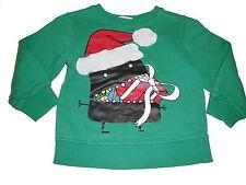 H & M toller Pullover / Sweatshirt Gr. 98 / 104 grün mit witzigem Motiv !!