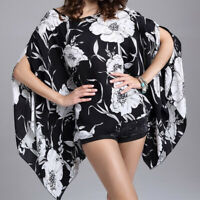 Women Summer Chiffon Floral Blouse Batwing Sleeve Loose T-Shirts Tops Plus Size