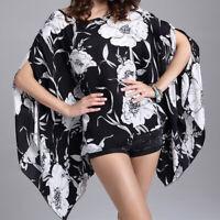 Women Boho Bat Wing Sleeve Chiffon Blouse Casual Floral Print Loose Kimono Shirt