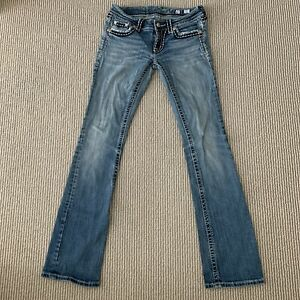 MISS ME Denim Womens Embellished Rhinestone Low Rise Boot Cut Blue Jeans 27x32