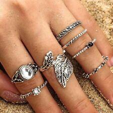 7Pcs/Set Bohemian Silver Leaves Cross Crystal Knuckle Midi Rings Set Jewelry