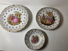 """Three Beautiful Limoges Plates w/ """"Courting Couple"""" Designs"""