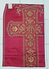 Antique French Reddish Vestment Chasuble IHS Embroidered Damask Panel