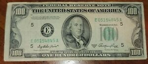 RARE 1950 100$ ONE HUNDRED DOLLAR PAPER BILL STAR NOTE (SERIES A)