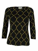 Charter Club Women's 3/4 Sleeve Belt Print Top (P/P, Deep Black Combo)