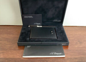 ST Dupont Olympio Black Ballpoint Pen & Leather Wallet Set. Box & Papers. Mint.