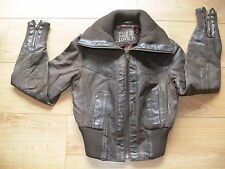WOMANS BROWN ( GENUINE LEATHER ) COAT / JACKET - SIZE 8 - NEW LOOK