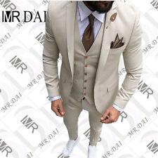 Men's Beige Tan Ivory 3-Piece Tailored Wedding Notch Lapel Tuxedo Slim Fit Suit