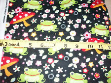 #106 Fabric Flannel New Frogs on Dk. Blue with mushrooms & Flowers BTY