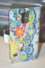 Flower Design Leather Wallet Card Case Cover for Samsung Galaxy S5