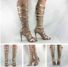 Guess NEW Chrina Gold Snake Knee High Strappy Gladiator Heels Pumps Sandals Sz 7