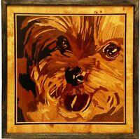 Animali Cane Pannello di legno dell'intarsio di arte della parete del ritratto
