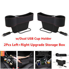 2Pcs PU Leather Car  Left+Right Seat Crevice Storage Box Pocket Cup Holder 2USB