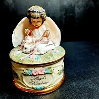 Decoration..Porcelain Music Box.. Music Box..Vintage Collectible Trinket Box..Jewelry Music Box ..Donna Brooks Angel/'s Kindness Collection.