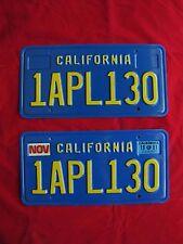 California vintage blue license plate pair