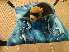 Ferret Hideaway Hammock - Orca Whales - Thick Sherpa Lining