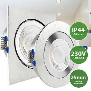 LED Einbaustrahler Feuchtraum Einbauspot flach geringe Tiefe 25mm COB IP44 230V