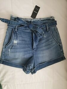 Bebe Blue Paperbag High Waist Denim Shorts Size 26 NWT