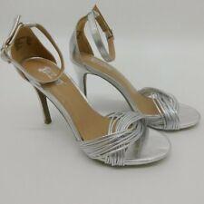 BRASH Womens Sz 8 Odessa Silver Twist Ankle Strap Heel Sandals