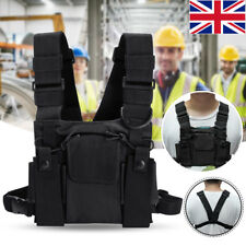 For Radio Walkie Talkie Chest 3 Pocket Harness Nylon Bag Pack Backpack Holster