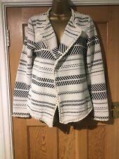 BNWOT Next Size 12 Open Jacket Aztec Tassels Black & White