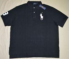 New 4XLT 4XL TALL POLO RALPH LAUREN Men Big Pony polo shirt top black 4XT solid