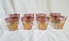Vintage midcentury Georges Briard x 8 ancient greek gold fill barware glasses