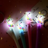 Cute Unicorn Gel Pen LED Lights Student Gift Stationery School Supplies Girl