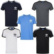 Adidas Originals California Camiseta HOMBRE Top Cuello Redondo Azul Blanco Gris