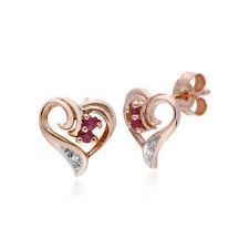 Gemondo 9ct Rose Gold 0.10ct Ruby & Diamond Heart Stud Earrings