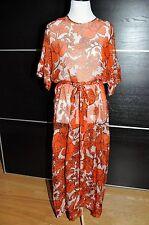 NEW $1035 MSGM Floral Orange 100% Silk Long Maxi Dress, Size 6 /EU 40