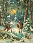 Christmas Deer in Winter Forest Full Moon old art 2