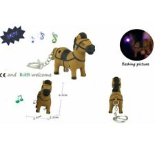 Lovely Trojan Horse Key Chain Ring with LED Light and Animal Sound Kid Toy gift