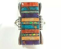 925 STERLING SILVER RECTANGLE DESIGN SPINY OYSTER OPAL TURQUOISE SIZE 11 RING