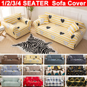 1-4 Seater Stretchable Sofa Cover Floral Couch Slipcover Furniture Protector
