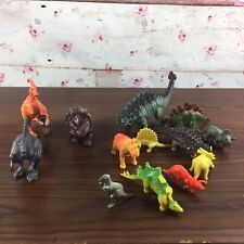 Lot Of 13 Dinosaurs 3  Hollow Plastic 10 Hard Rubber Or Resin