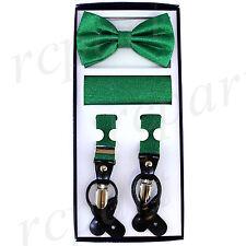 New Y back Men's Vesuvio Napoli Suspenders Bowtie Hankie Stripes Glitter Green