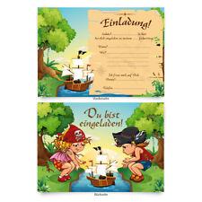"""Einladungskarten (8 Stück) zum Selbstausfüllen für Kindergeburtstag - """"Piraten"""""""