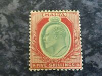 MALTA POSTAGE STAMP SG63 5/- GREEN & RED ON YELLOW LIGHTLY MOUNTED MINT