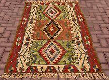 Turkish Handmade Unique Design Multicolor Wool Kilim Area Rug 3.6x6.2 feet