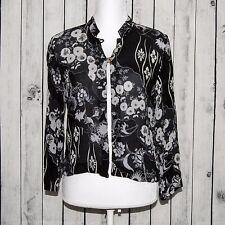 CITRON of Santa Monica Women's 100% Silk 2 button Black Floral Size Petite M