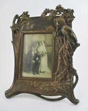 """ART NOUVEAU - 8x12"""" FRAME - 4x6"""" Photo - LADY & LILIES - Bronzed Cast Iron #9016"""