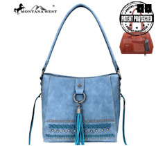 Montana West Fringe Collection Concealed Carry Gun Hobo Handbag Blue Purse