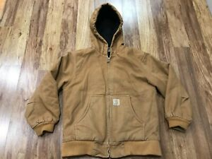 BOYS MEDIUM (10-12) - Carhartt Duck Flannel Quilted Lined Hooded Zip Jacket