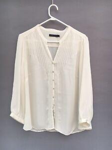 🍃Womens Sportscraft Silk Look Pin Tuck Long Sleeve Blouse Shirt Top White Sz 18