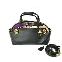 Authentic Coach Leather Flower Sequins Satchel Hand Shoulder Bag Tote 2way Black