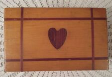 Mid Century Wooden Box With Inlaid Heart Handmade Hinged Dovetail Joints