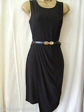 NEW £35 ***SALE*** JANE NORMAN SIZE 14 BLACK ASYMMETRIC DRAPE BELTED DRESS